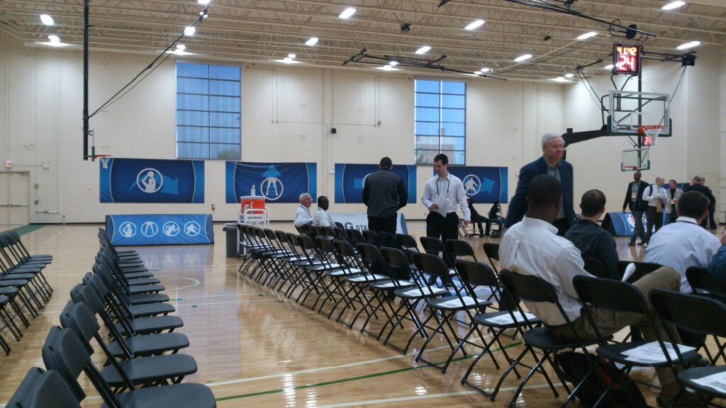 Jerry Sloan and Ty Corbin (center) sit together at the Chicago NBA Draft Combine. Photo Credit: AllThatAmar