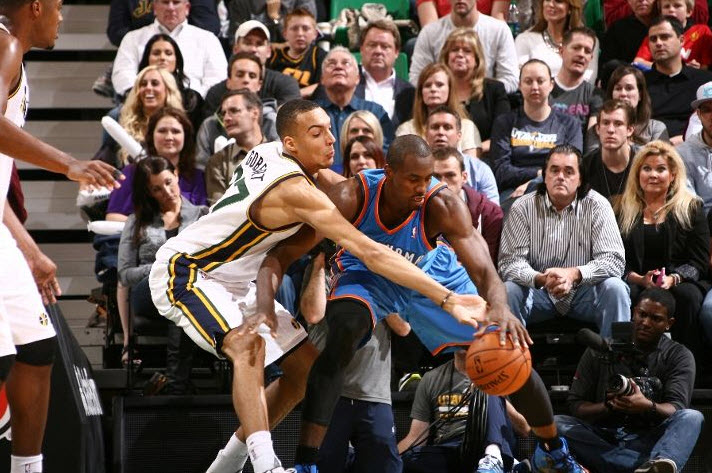 With Gobert defending, OKC scored 0 paint points in the 2nd half. (Photo by Melissa Majchrzak/NBAE via Getty Images)