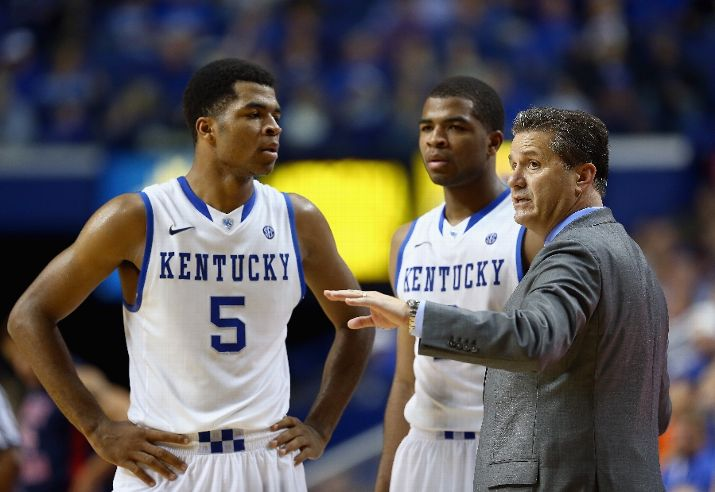 Kentucky's Andrew Harrison (#5) is the first elite prospect to drop out of top prospect contention on my list.  Hopefully, John Calipari can coach him back up my and others' boards. (Photo by Andy Lyons_Getty Images)