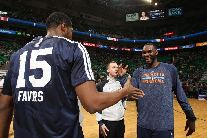 Big Al Jefferson and Derrick Favors met many times - both before and after the opening tip. Photo by Melissa Majchrzak/NBAE via Getty Images