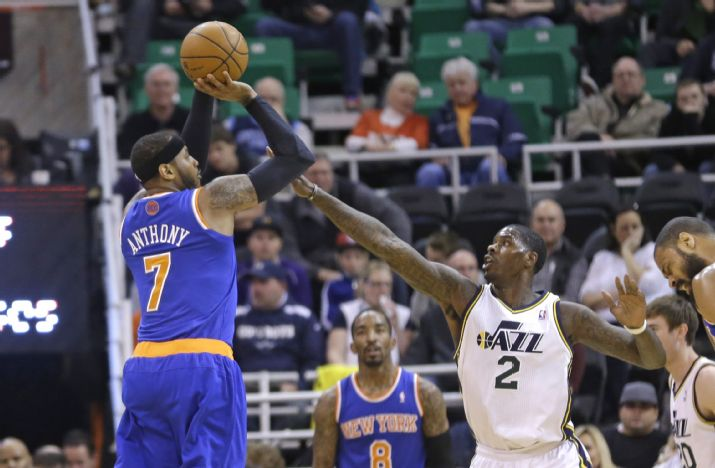 Marvin Williams stared tonight for the Jazz, meaning it was he, not Derrik Favors, who chased Carmelo Anthony around the perimeter. (AP Photo/Rick Bowmer)