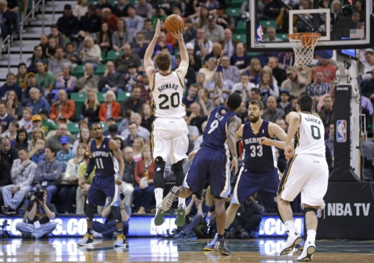 Gordon Hayward could wind up in analytics jail for this midrange jumper. (AP Photo/Rick Bowmer)