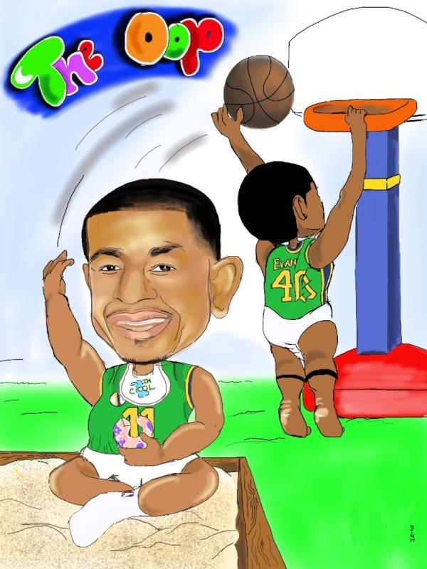 In his first two seasons, Jeremy Evans developed a chemistry with Jazz PG Earl Watson on alley-oops. He commemorated it with this drawing. They're in diapers, for some reason. I wrote a post breaking the whole thing down.