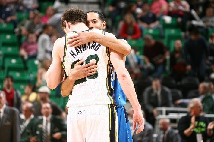 Sometimes you have to hug it out. Melissa Majchrzak - NBAE via Getty Images