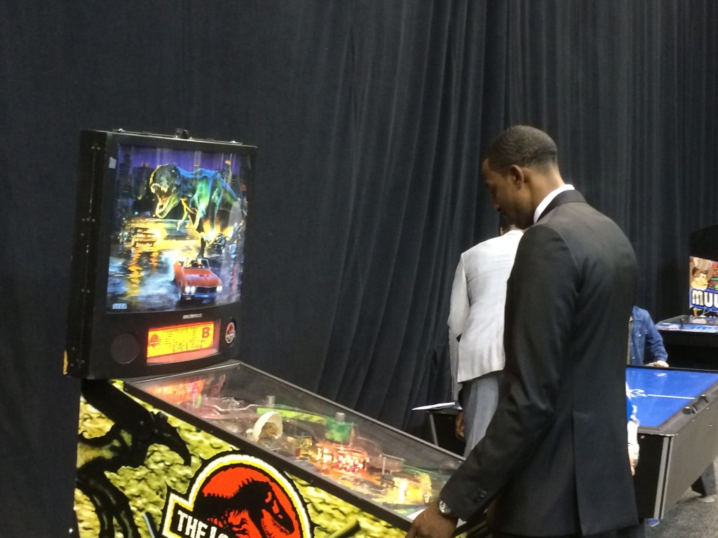 Jeremy Evans pinballs alone. Pinball is a fantastic party event.