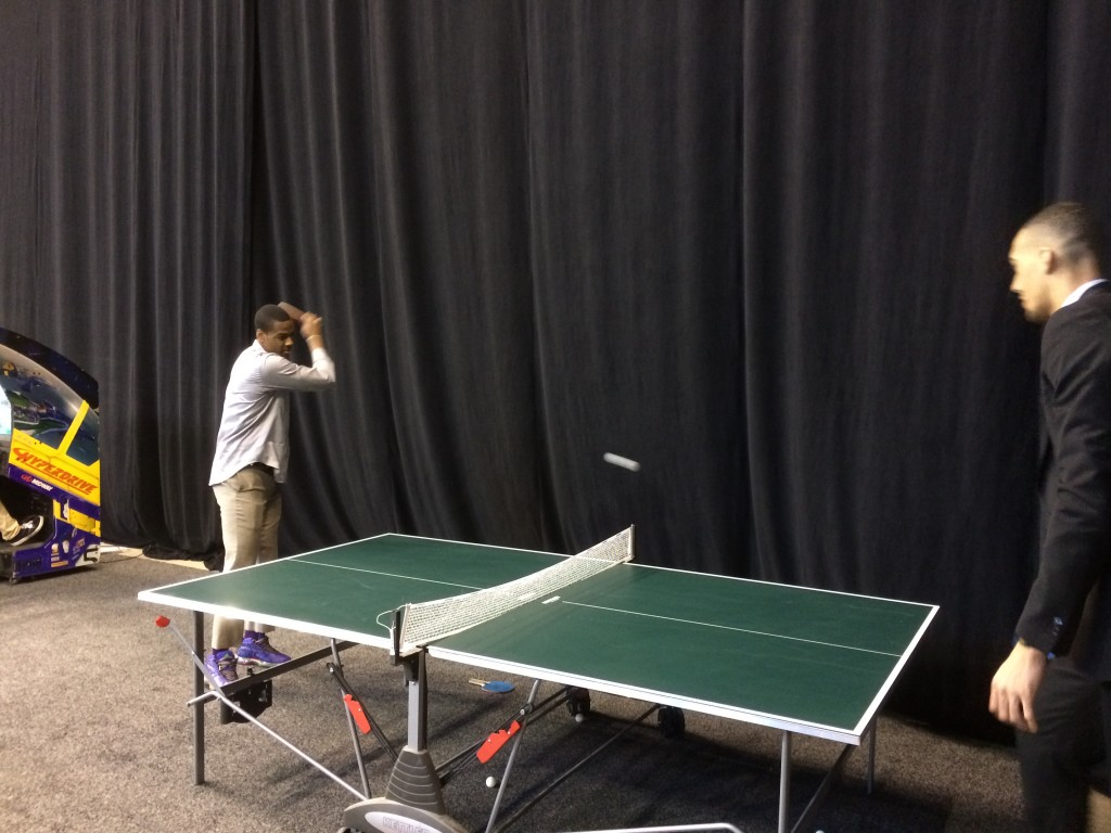 "Alec Burks plays ping-pong with Rudy Gobert. Alec was not impressed with Rudy's skills. To a passerby child, he said ""You want to play? Cause this guy's terrible!"""