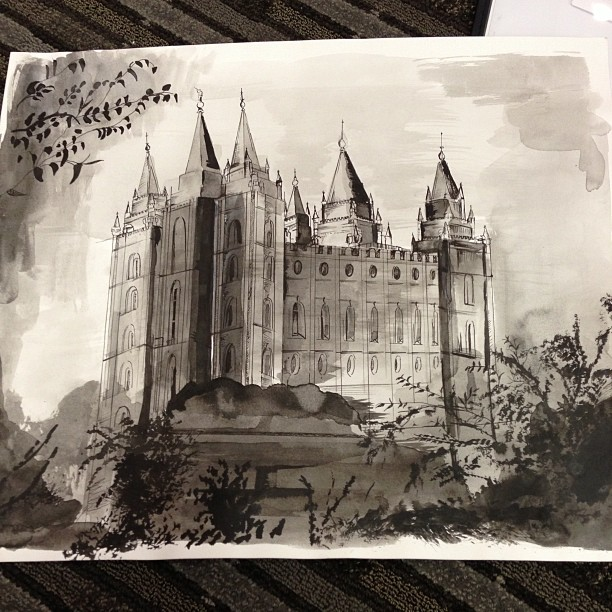 Jeremy's sketch of Salt Lake's LDS temple.