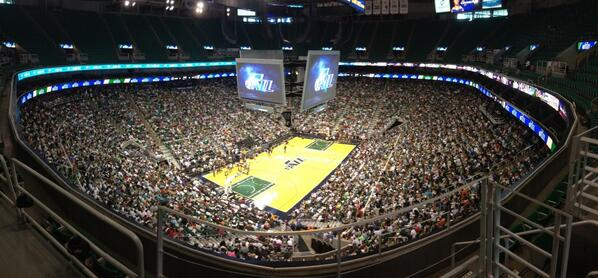 EnergySolutions Arena during tonight's open summer league practice. Fans filled the lower bowl; the Jazz were forced to open the upper bowl to make room for the fans.