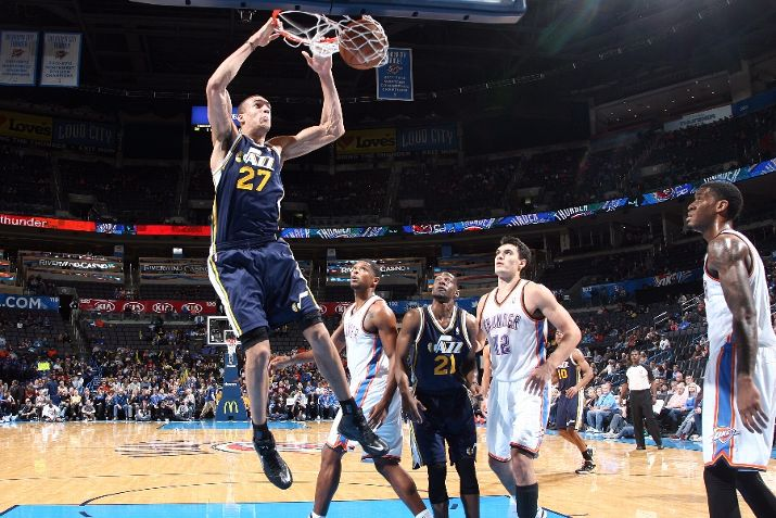 Gobert dunks in a regular season game in 2013-14. Will he get more playing time this season? (Photo by Layne Murdoch/NBAE via Getty Images)