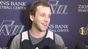 Joe Ingles meeting the media at Utah Jazz practice yesterday.