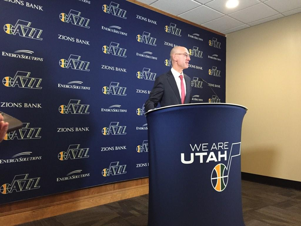 Adam Silver speaks to the assembled media in Utah before tonight's game.
