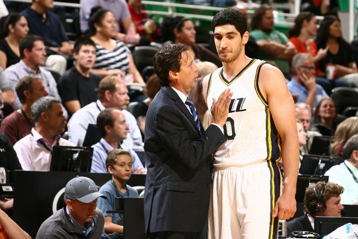 Enes Kanter and Quin Snyder are the focuses of points #2 and #3 in The Triple Team tonight. (Photo by Melissa Majchrzak/NBAE via Getty Images)
