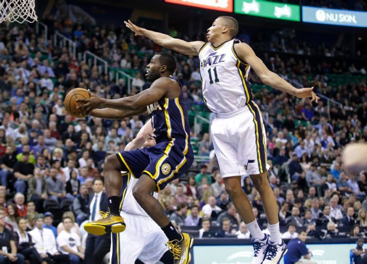 Dante Exum started his first NBA game tonight.  (AP Photo/Rick Bowmer)