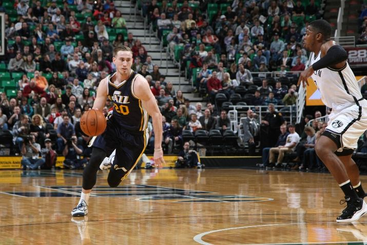 The Jazz's perimeter players, including Gordon Hayward, had a lot of space tonight. (Photo by Melissa Majchrzak/NBAE via Getty Images)