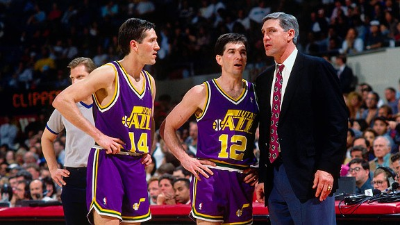 Jeff Hornacek and John Stockton formed a great, not just good, shooting back court (Barry Gossage/NBAE/Getty Images)
