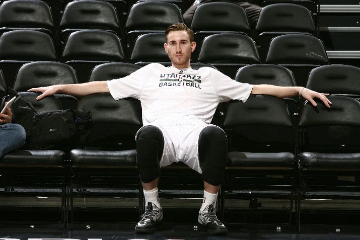 Gordon Hayward, probably thinking about his newly announced future as a father. Or basketball. Or something else. We don't really know.(Photo by Melissa Majchrzak/NBAE via Getty Images)