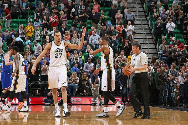 While Gobert and Hood were happy to win tonight's game, their coach, Quin Snyder, was not particularly pleased by the overall performance. (Photo by Melissa Majchrzak/NBAE via Getty Images)