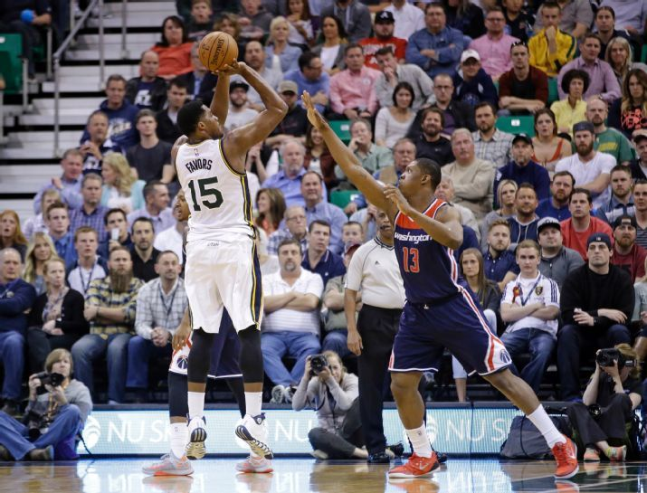 In tonight's game, the Jazz missed too many shots like this relatively open Favors jumper. (AP Photo/Rick Bowmer)