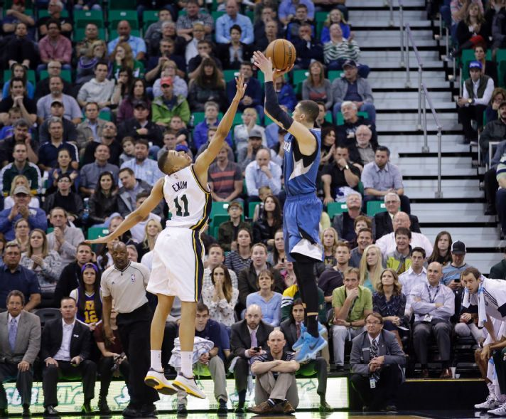 Zach LAvine's athleticism helped him make this very contested shot against Dante Exum. (AP Photo/Rick Bowmer)