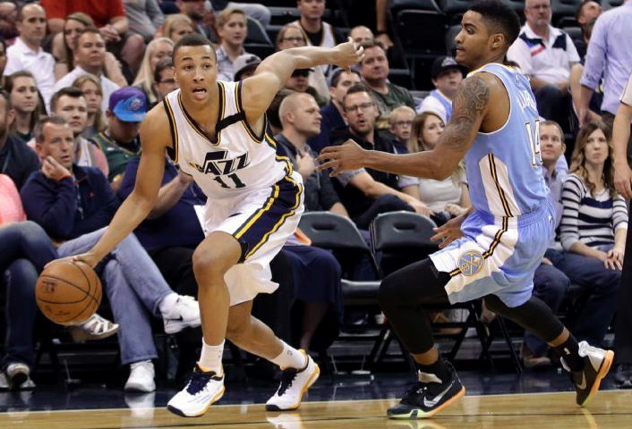 Poor Gary Harris can't stay in front. A different Exum came to play vs. Denver. (AP Photo/Rick Bowmer)