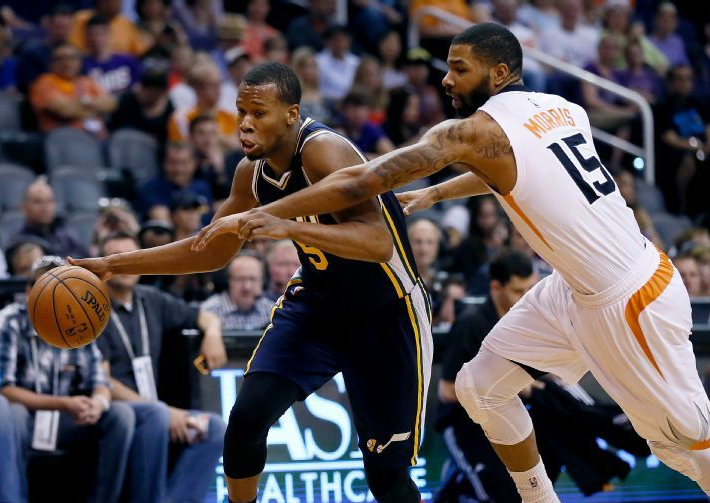 Hood and the Jazz almost got by the Suns in Phoenix. (AP Photo/Matt York)
