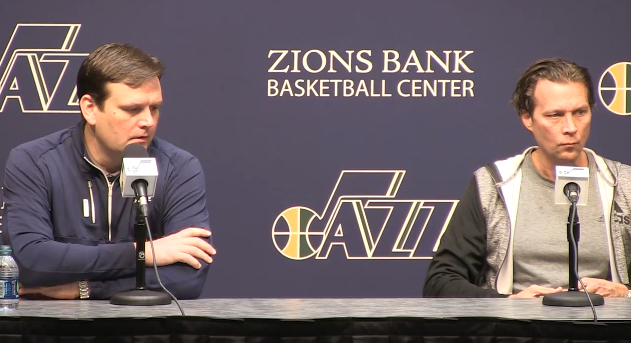 Largely due to this year-old partnership, Dennis Lindsey is a bit more in the background than he was a year ago. (Still from utahjazz.com)