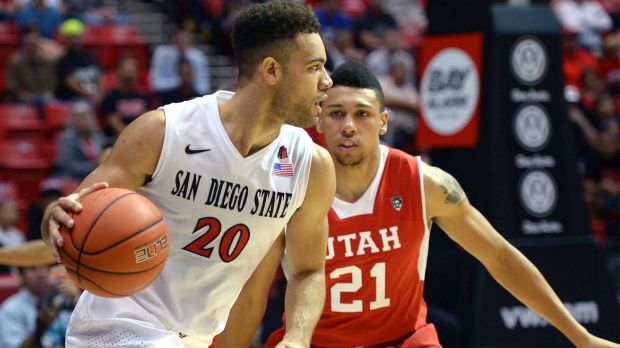 Forward J.J. Brien, seen here in his SDSU days, parlaying a solid summer league effort into a training camp deal with Utah. (Jake Roth-USA TODAY Sports)