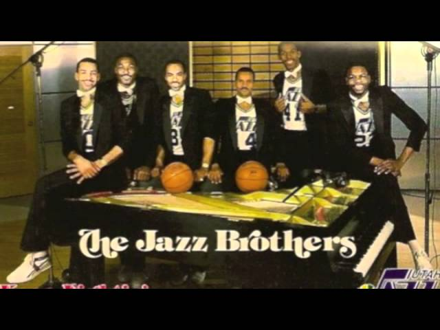 The Jazz Brothers! Thurl Bailey, Del Curry, Rickey Green, Darrell Griffith, Karl Malone and Carey Scurry