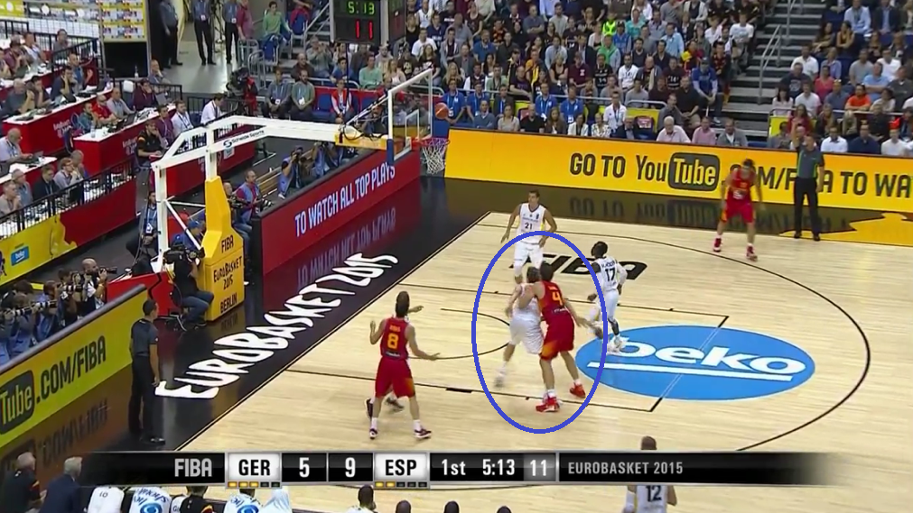 Pleiss doesn't get every rebound, but he boxes out religiously and effectively. (EuroBasket still)