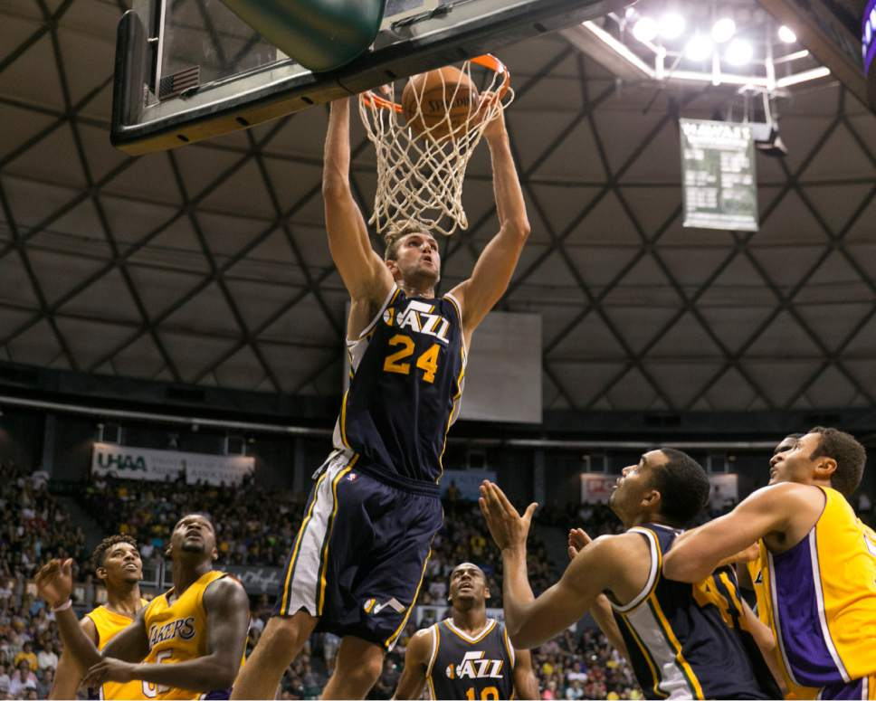 Center Jeff Withey has been a pleasant surprise for the Jazz this season. (AP Photo/Marco Garcia)