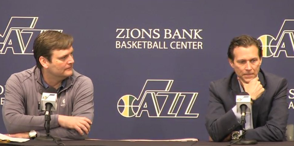 DL & Quin deep in thought about a 40-42 year. (Source: @UtahJazz)