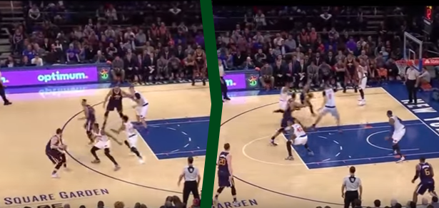 Frame 1: Rose is preparing to help on the Hayward pick, loses Hill. Frame 2: Rose chases, Porzingis has to help, which forces weakside D to collapse to help on Gobert.