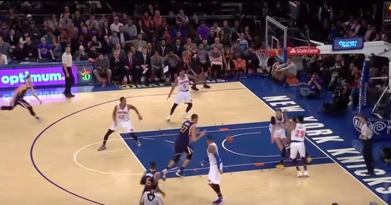Rudy's fake screen lures Melo into giving him an unencumbered dive. (Game still)