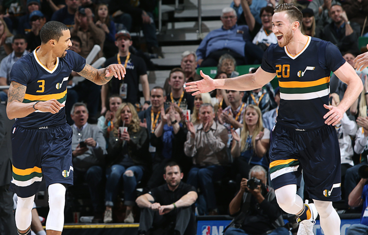 Twice the GH, twice the celebration. Melissa Majchrzak via utahjazz.com
